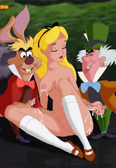 Mad Hatter and the White Rabbit cums on Alice
