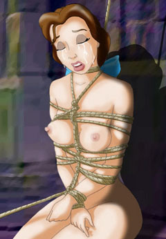 Naked Belle tied up