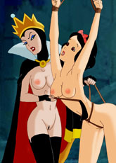 Naked Snow White in bondage